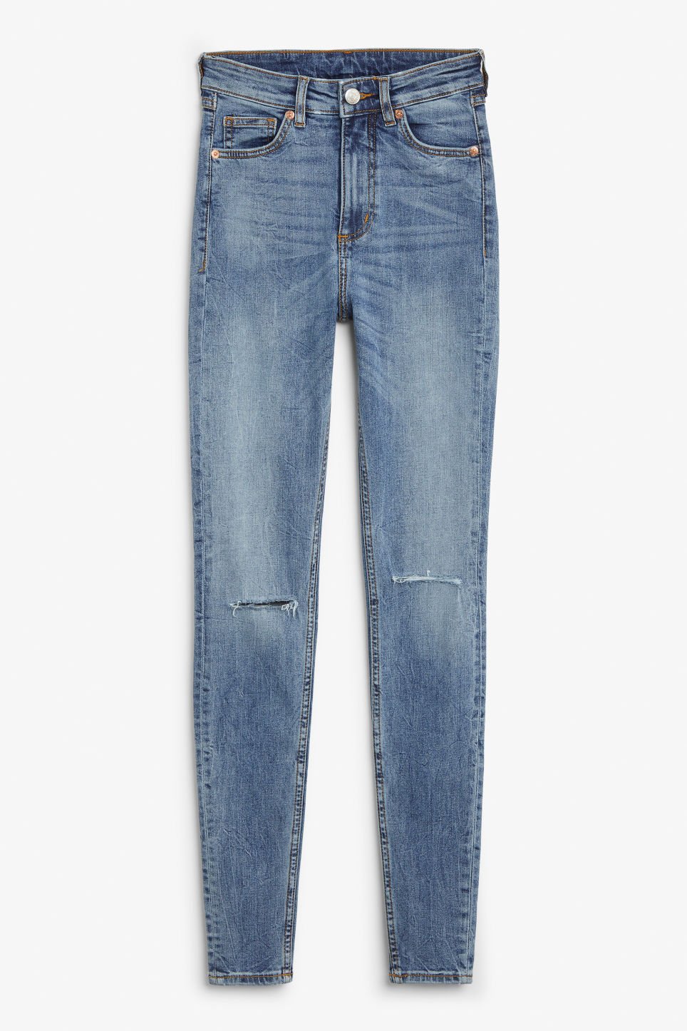 Front image of Monki oki jeans in blue