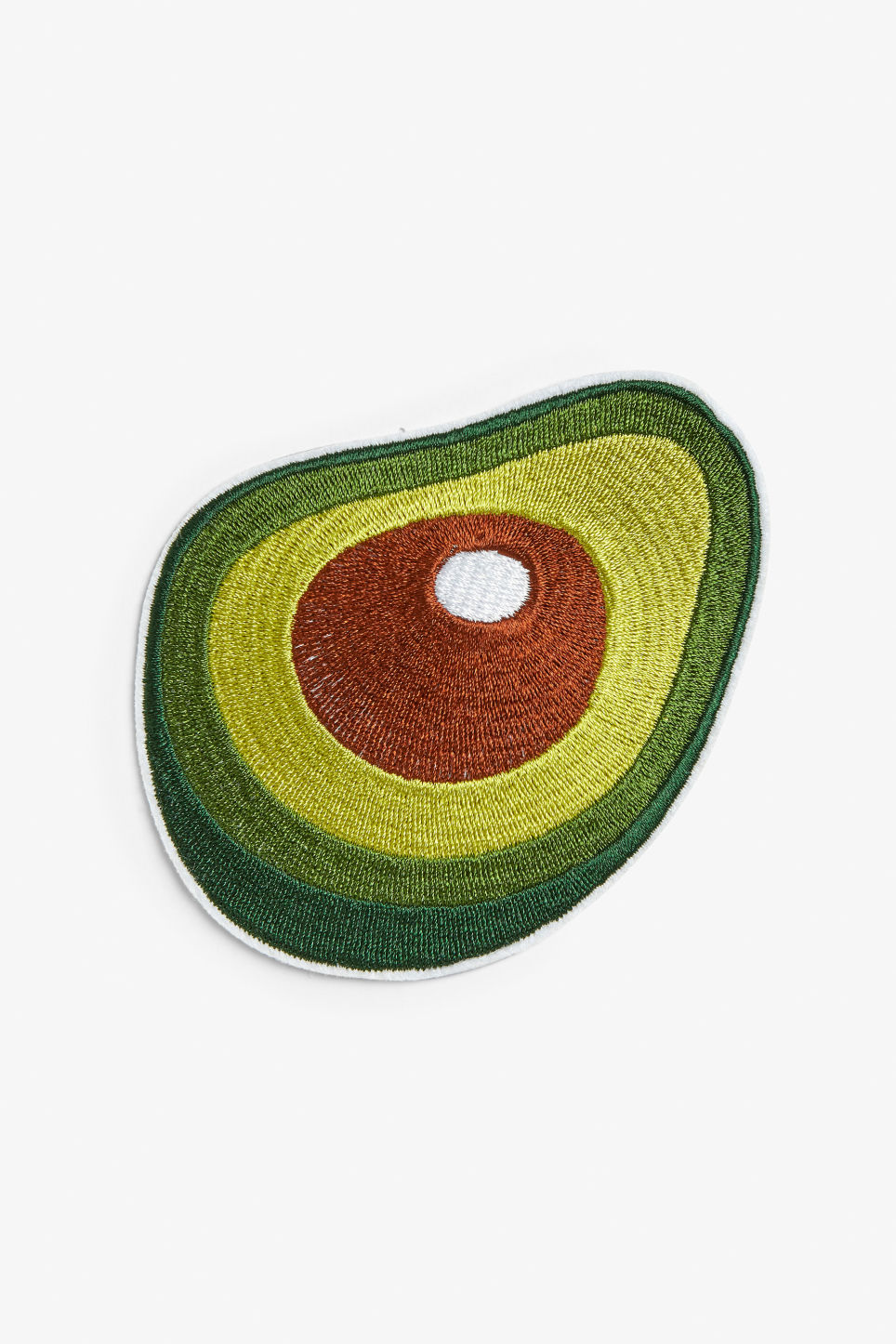 Front image of Monki iron on patch in green