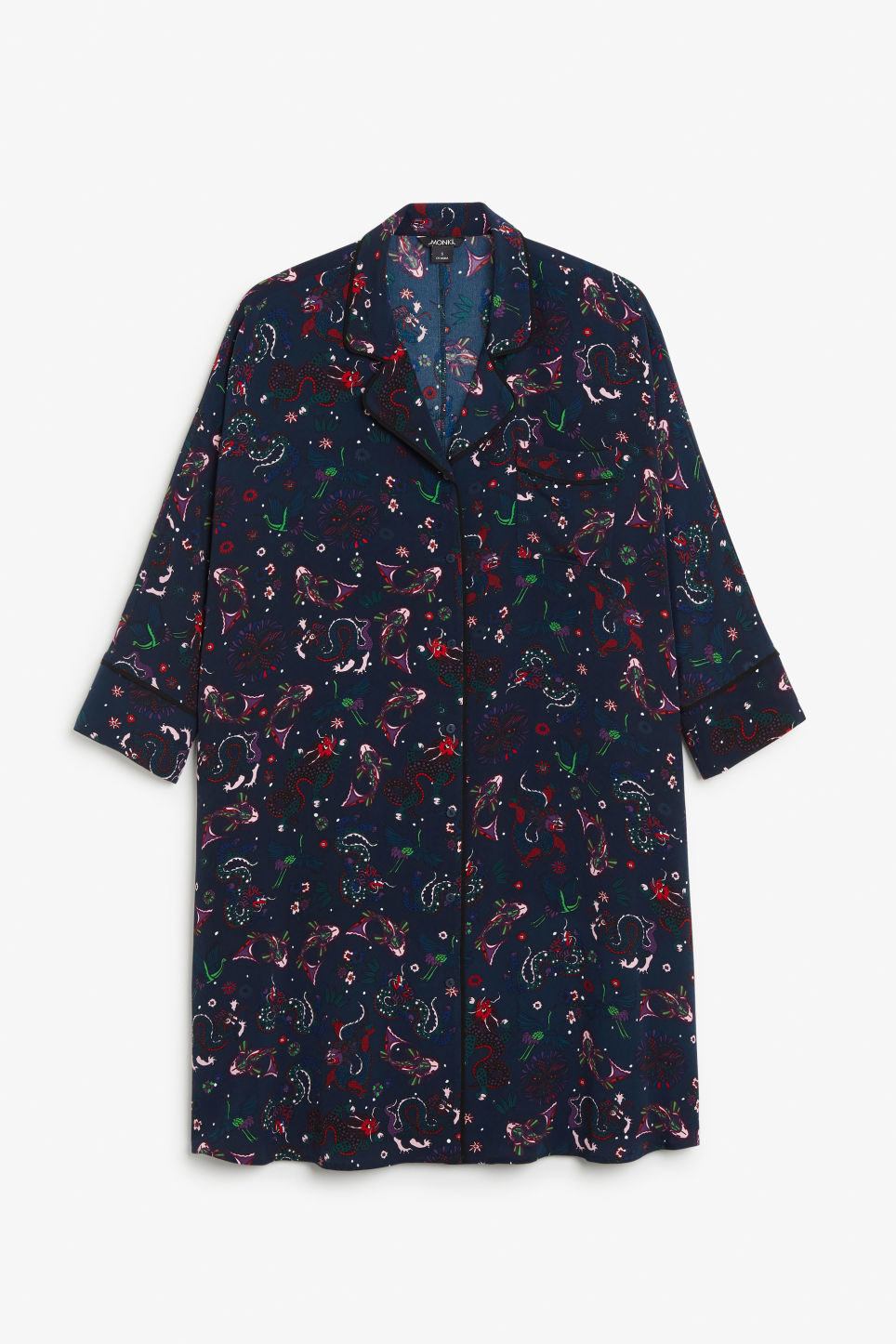 Front image of Monki printed pyjama dress in blue