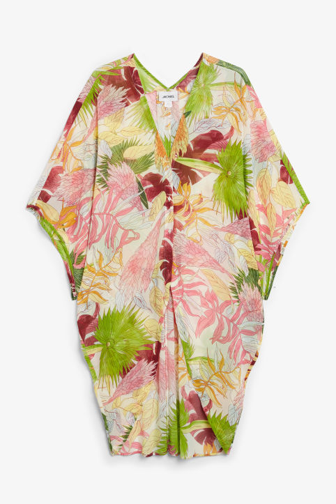 Front image of Monki flowy kaftan in white
