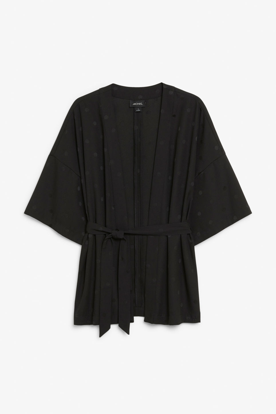 Front image of Monki short kimono blouse in black