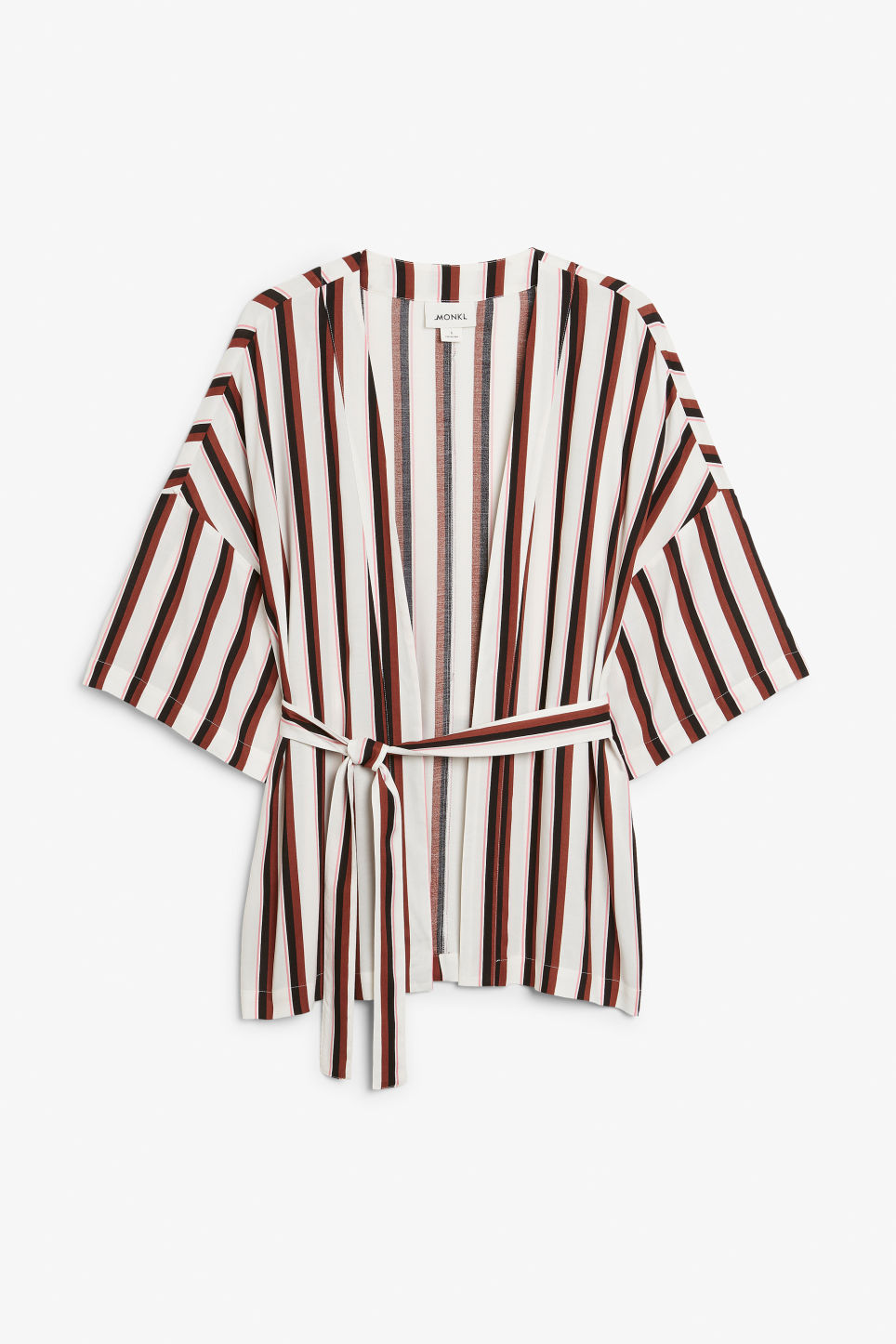 Front image of Monki short kimono blouse in white