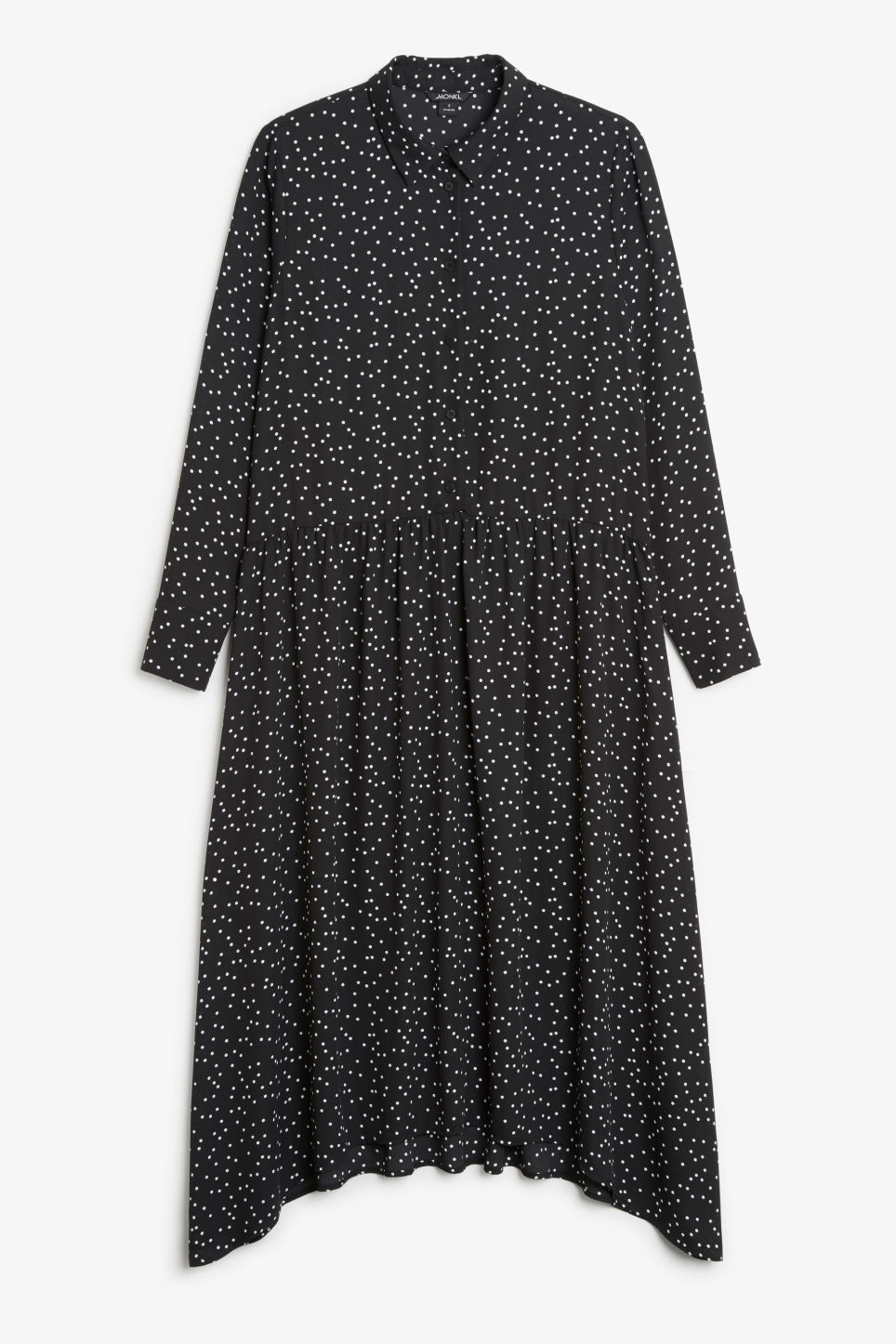 Front image of Monki button up dress in black