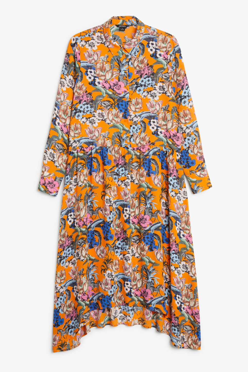 Front image of Monki button up dress in orange