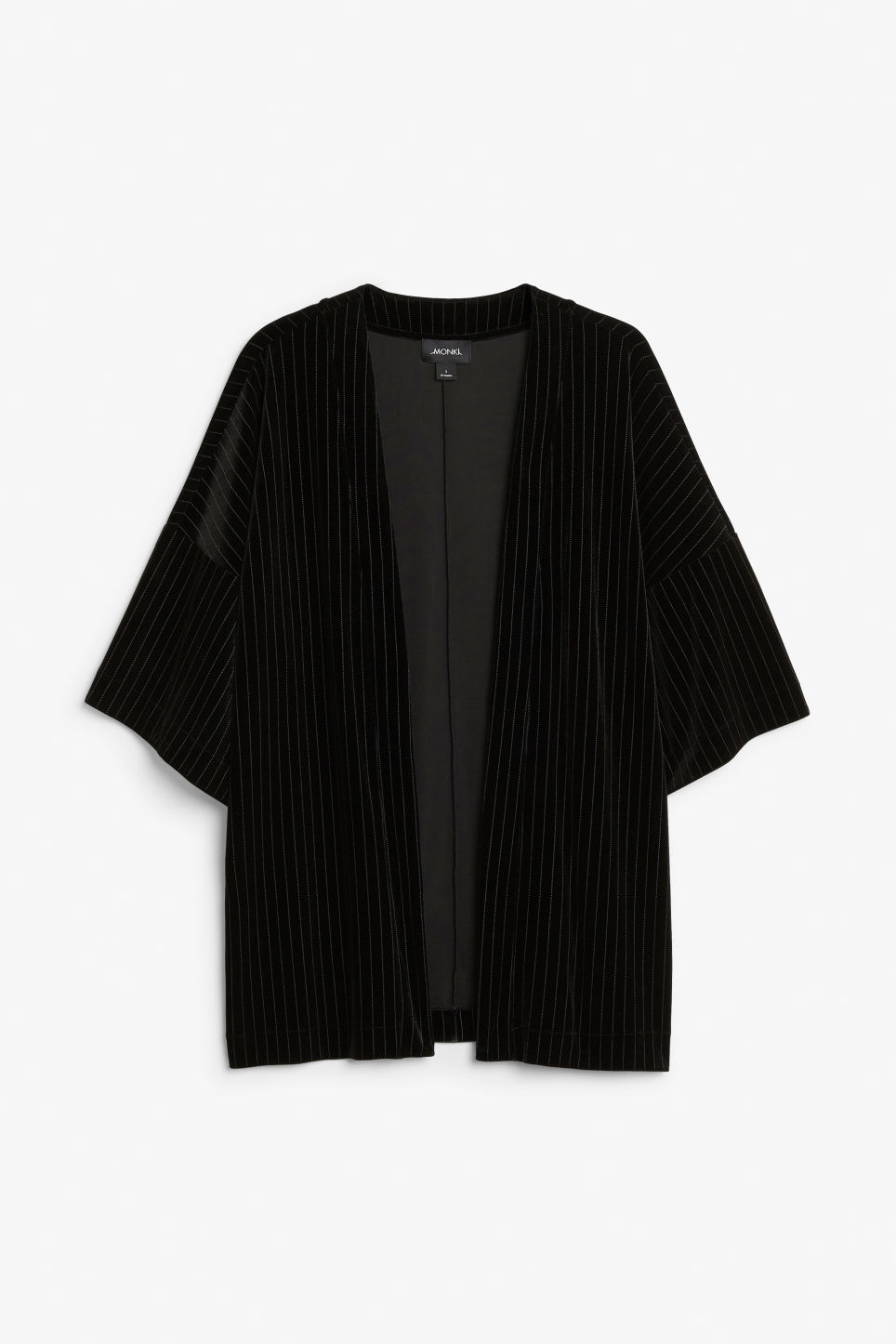 Front image of Monki open kimono in black