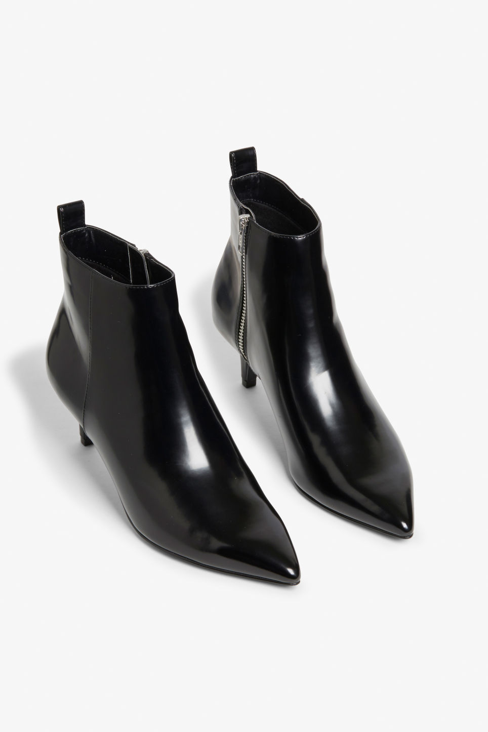 Front image of Monki kitten heel boots in black