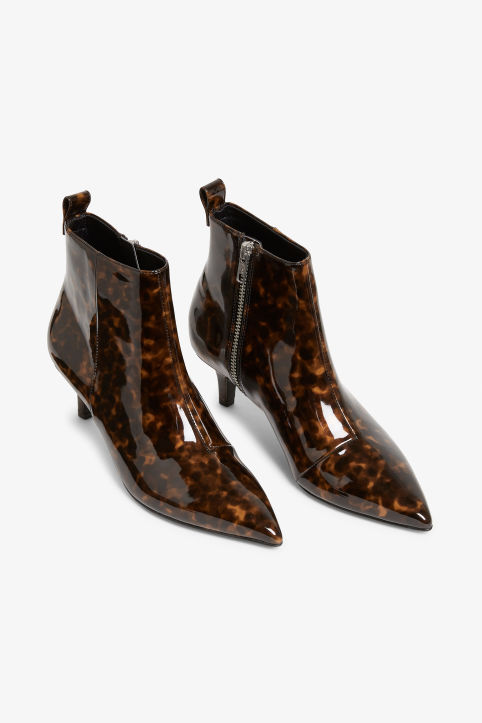 Front image of Monki kitten heel boots in brown