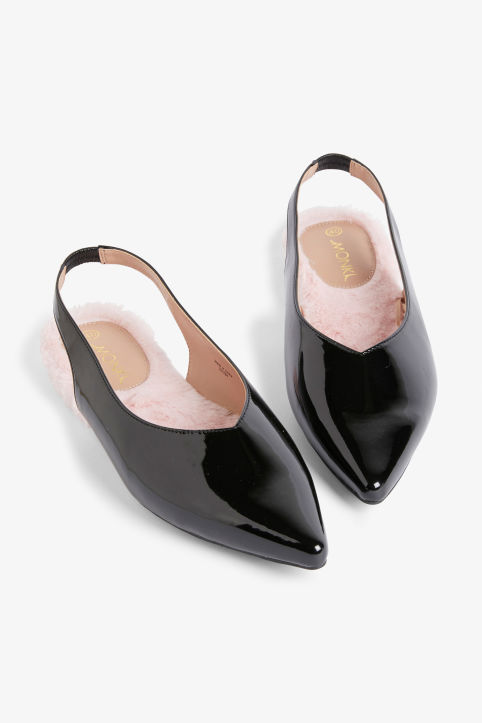 Front image of Monki slingback flats in black