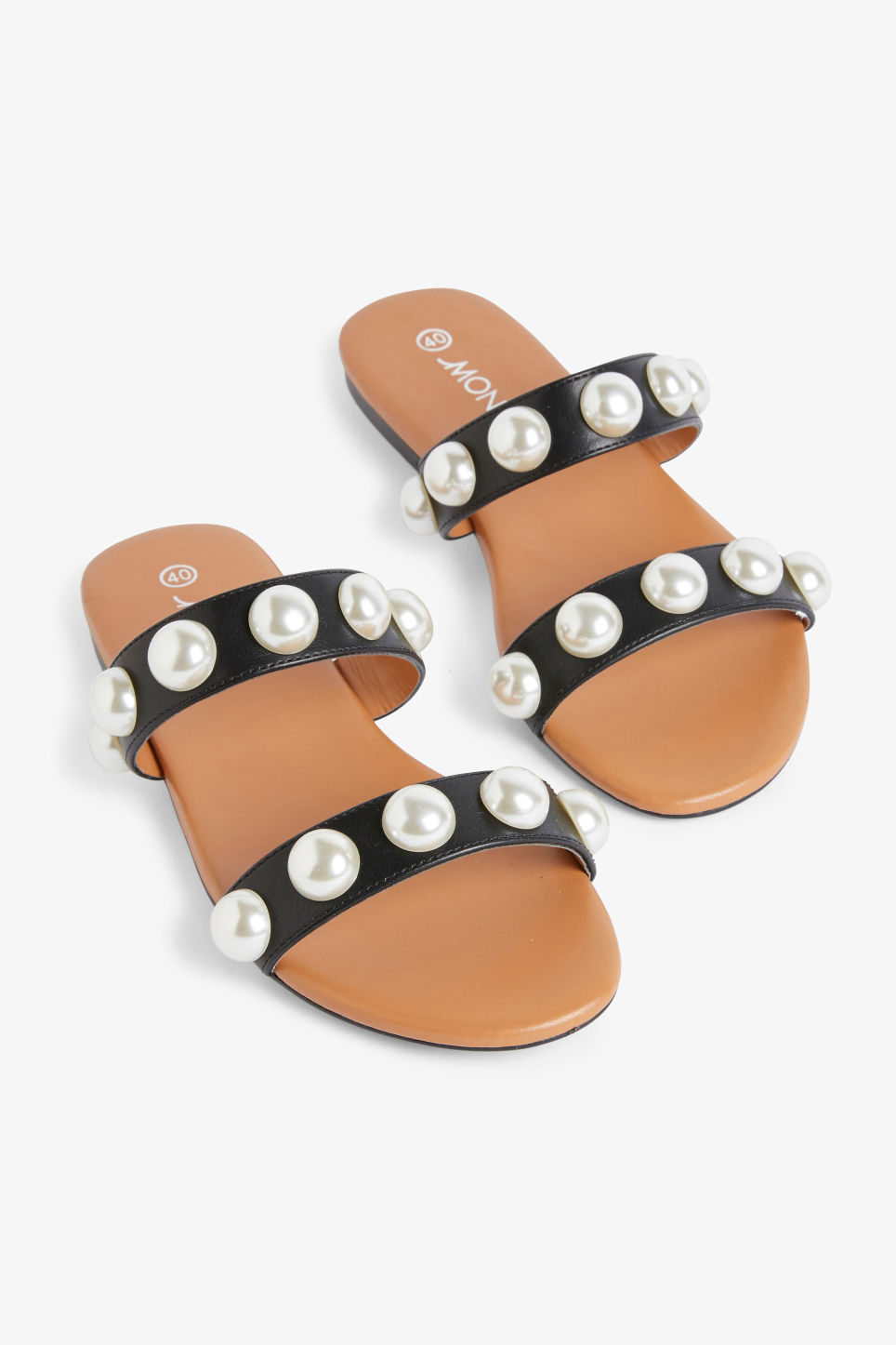 Front image of Monki imitation pearl sandals in black