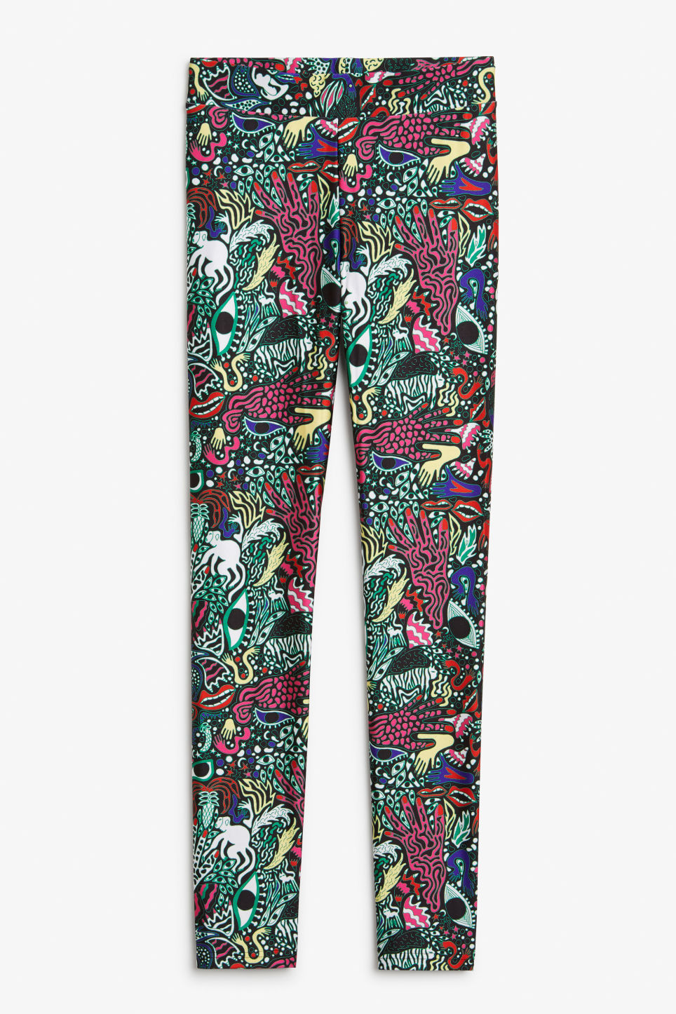 Front image of Monki statement print leggings in green