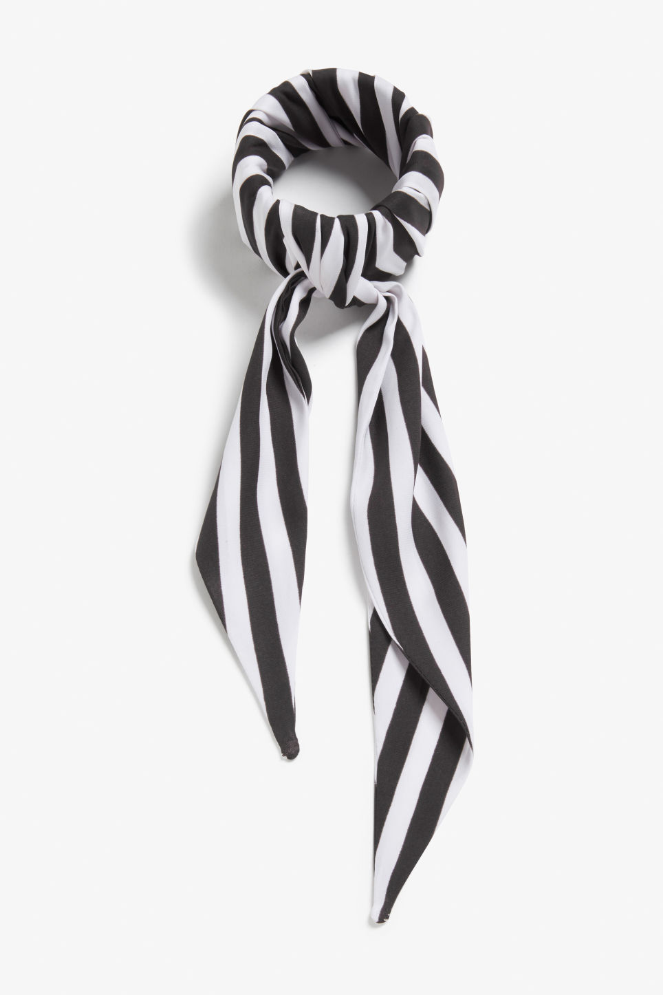 Front image of Monki striped scarf bracelet in black