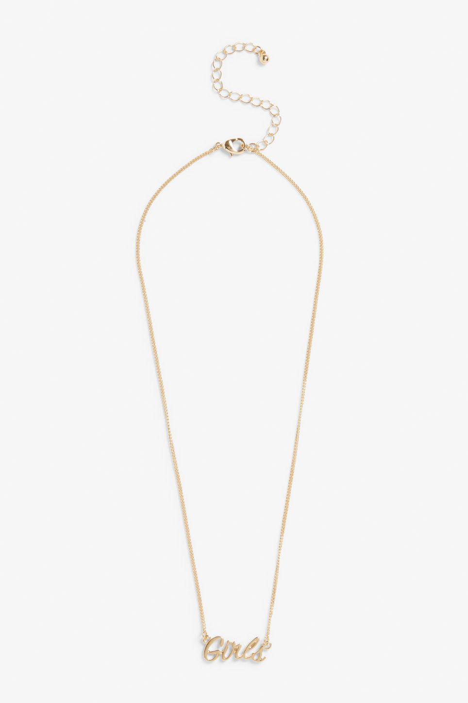 Front image of Monki word necklace in gold