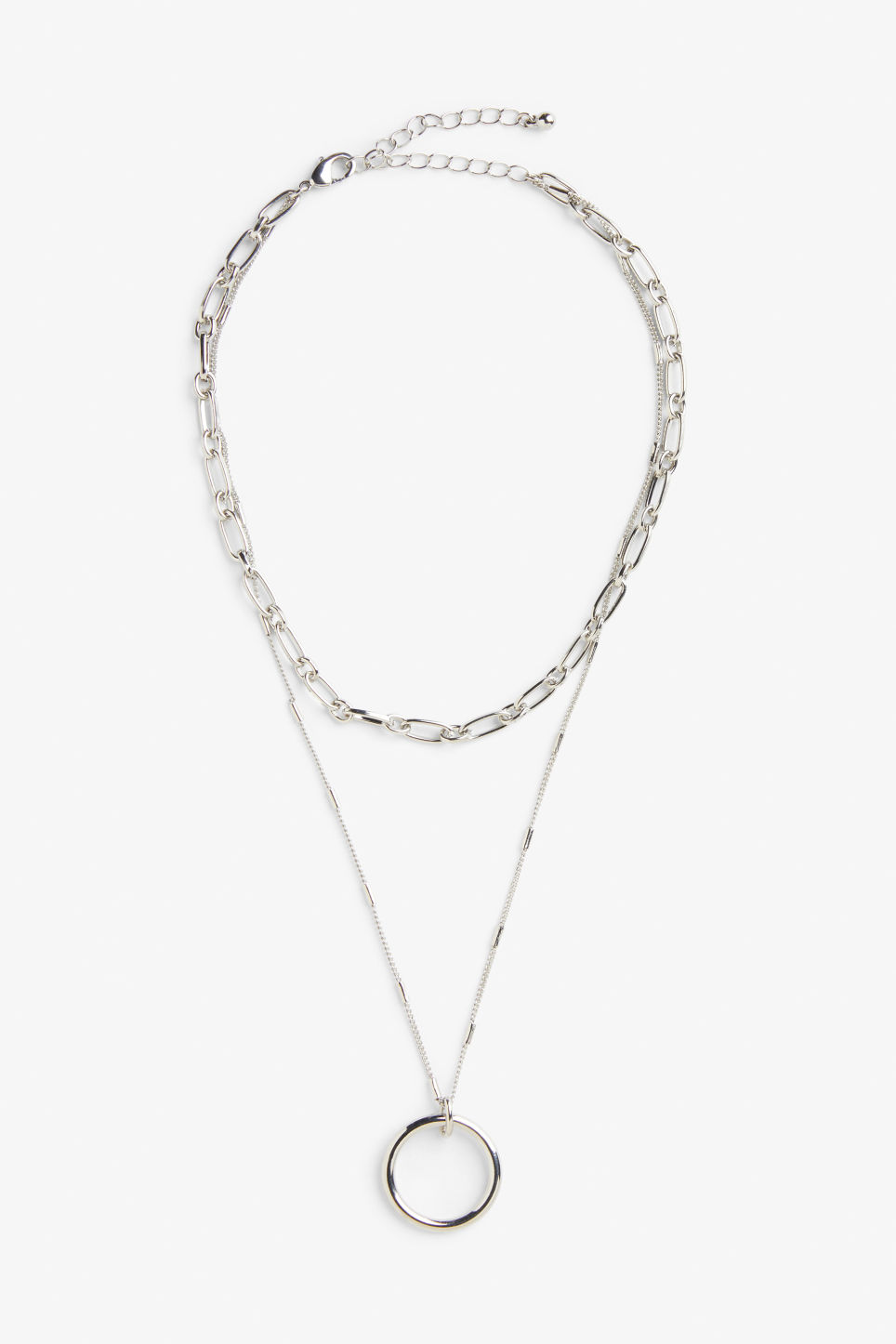 Front image of Monki silvery double chain necklace in silver