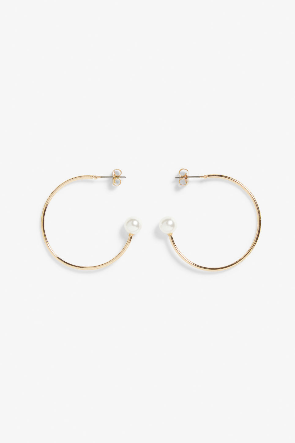 Front image of Monki golden pearl hoops in gold