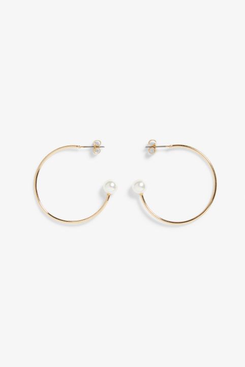 Golden pearl hoops