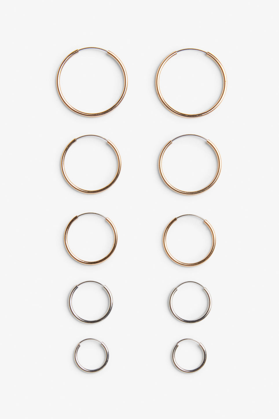 Front image of Monki assorted hoops in silver