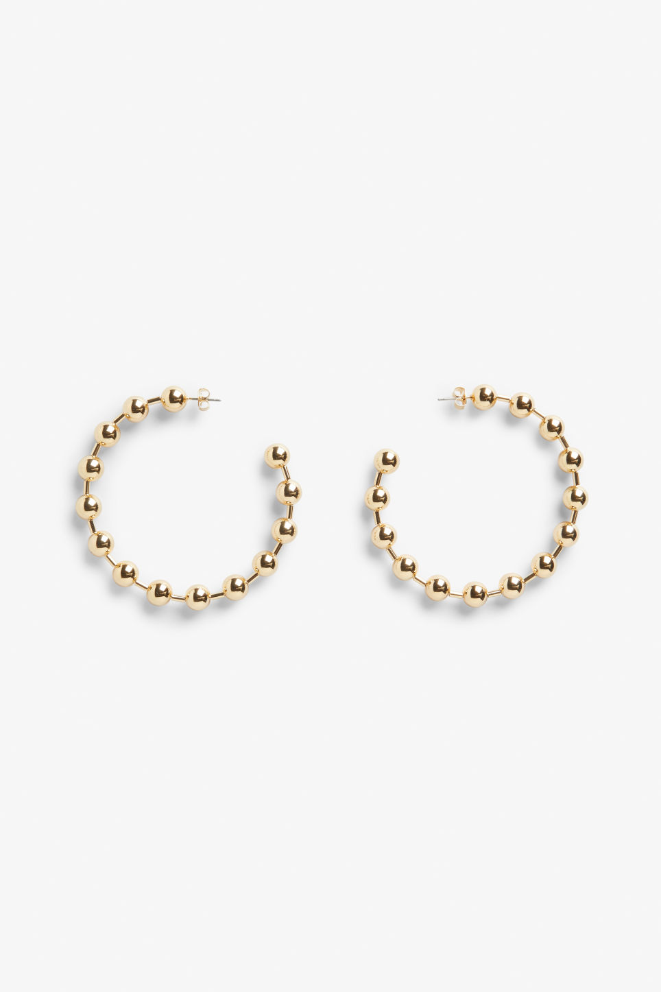 Front image of Monki goldish hoops in gold