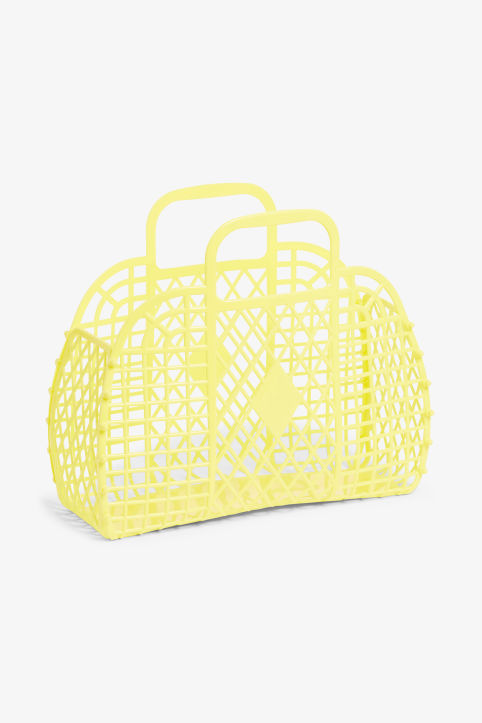 Front image of Monki retro beach basket in yellow