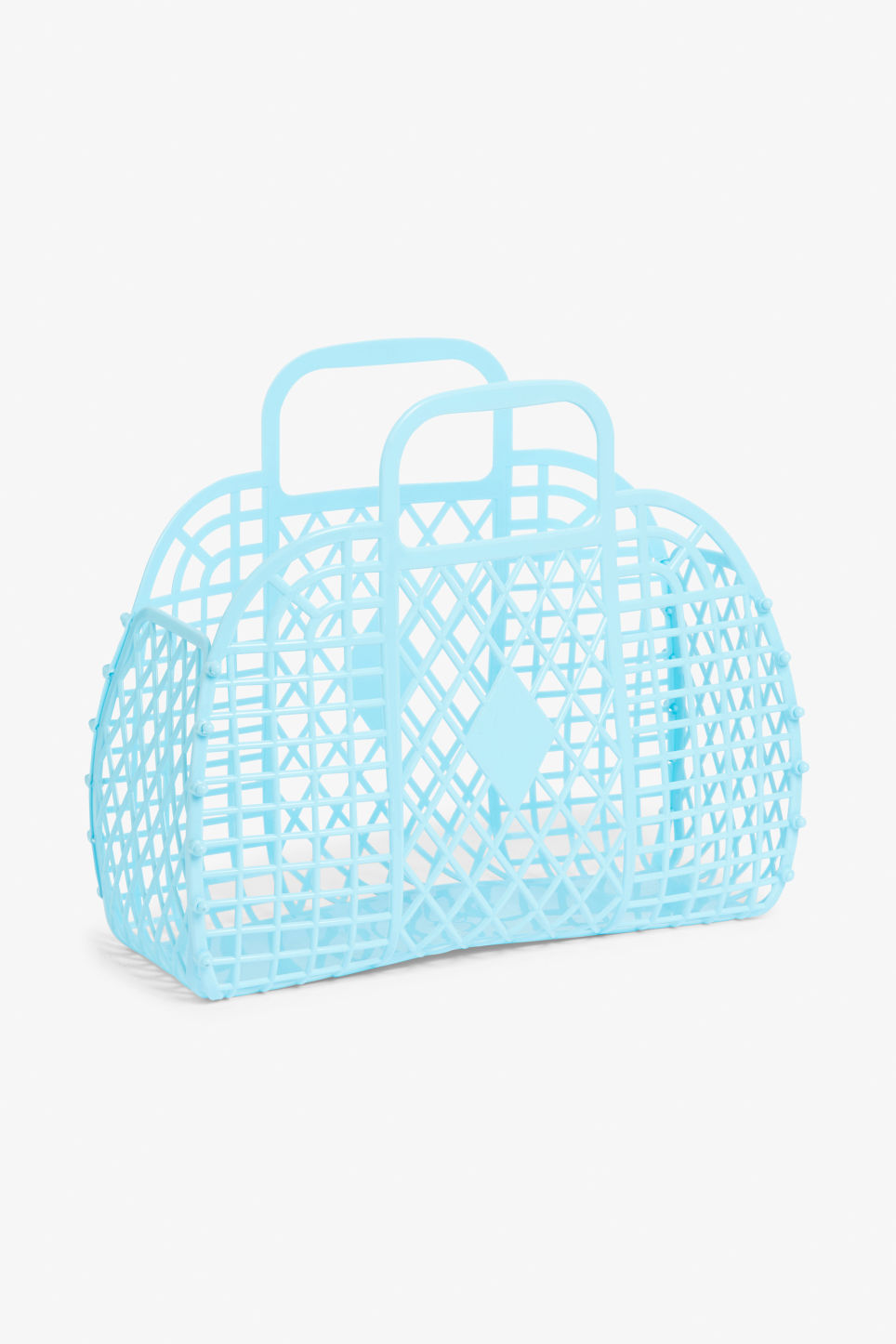 Front image of Monki retro beach basket in blue