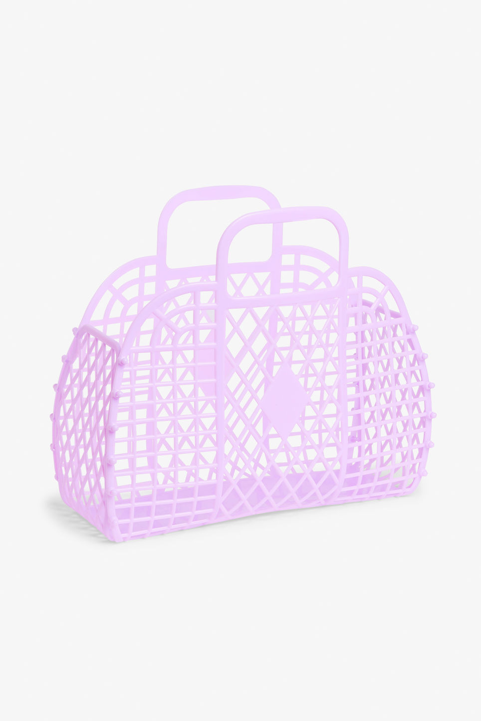 Front image of Monki retro beach basket in purple