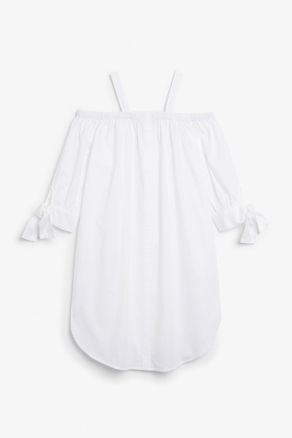 Front image of Monki cold-shoulder dress in white