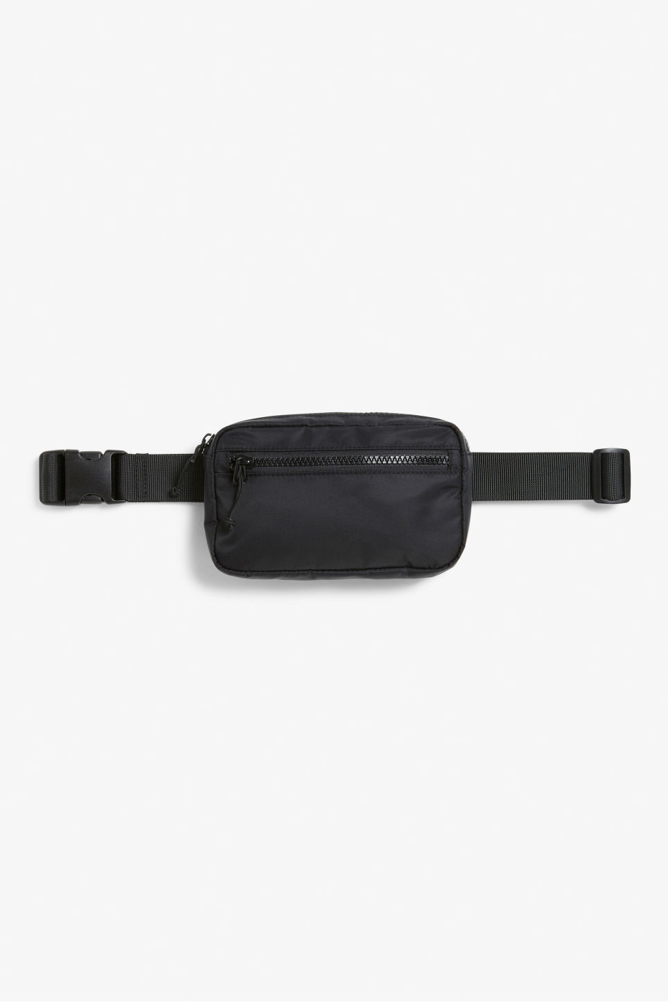Front image of Monki glitter fanny pack in black