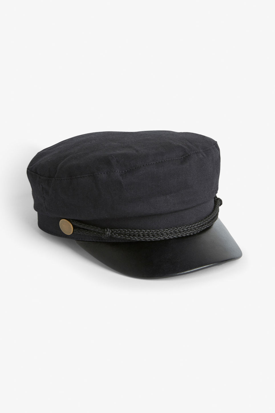 Front image of Monki baker boy hat in black