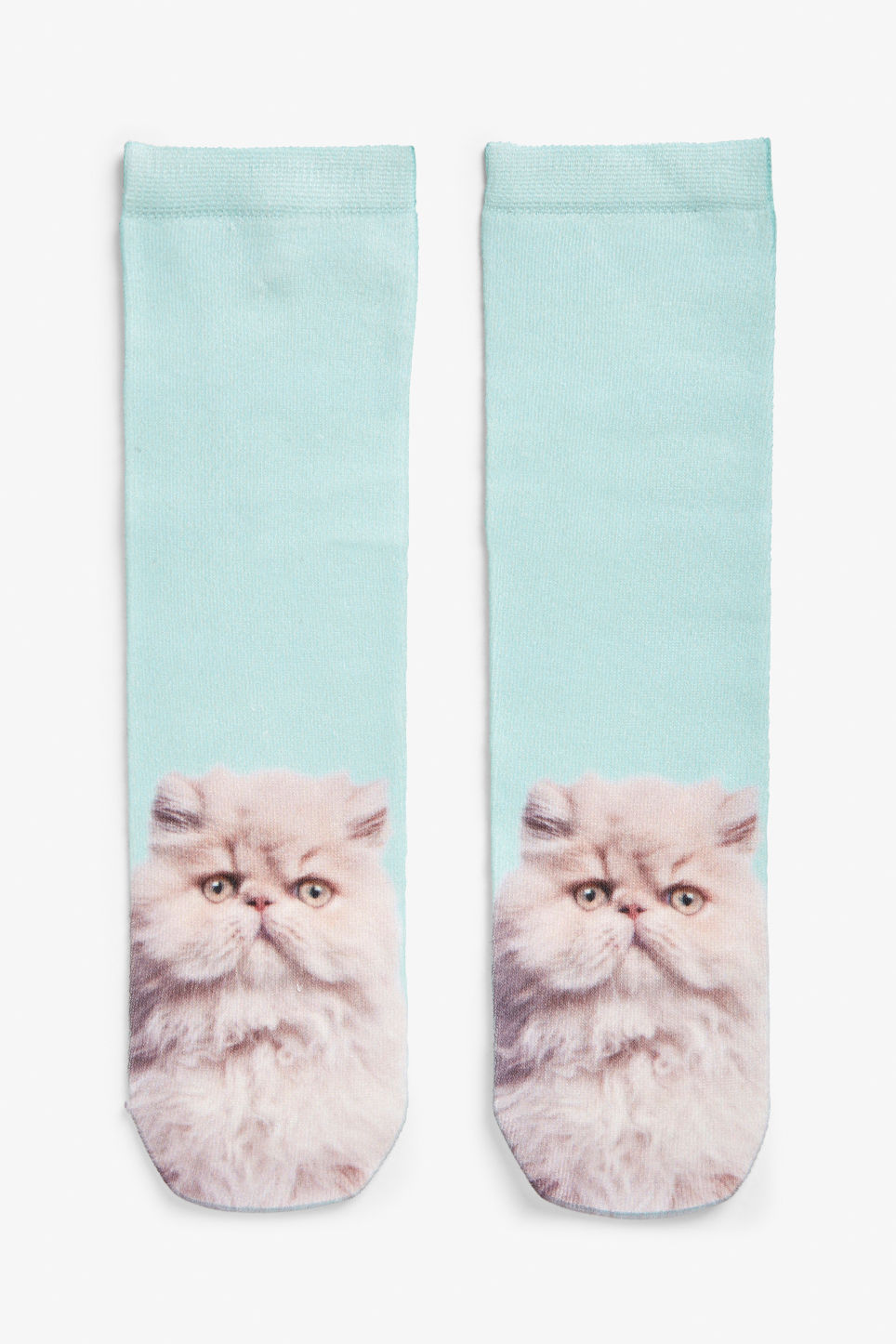 Front image of Monki cat socks in turquoise