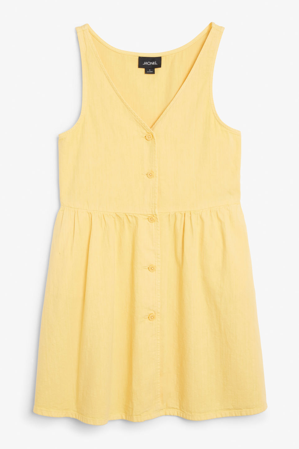 Front image of Monki denim dress in yellow