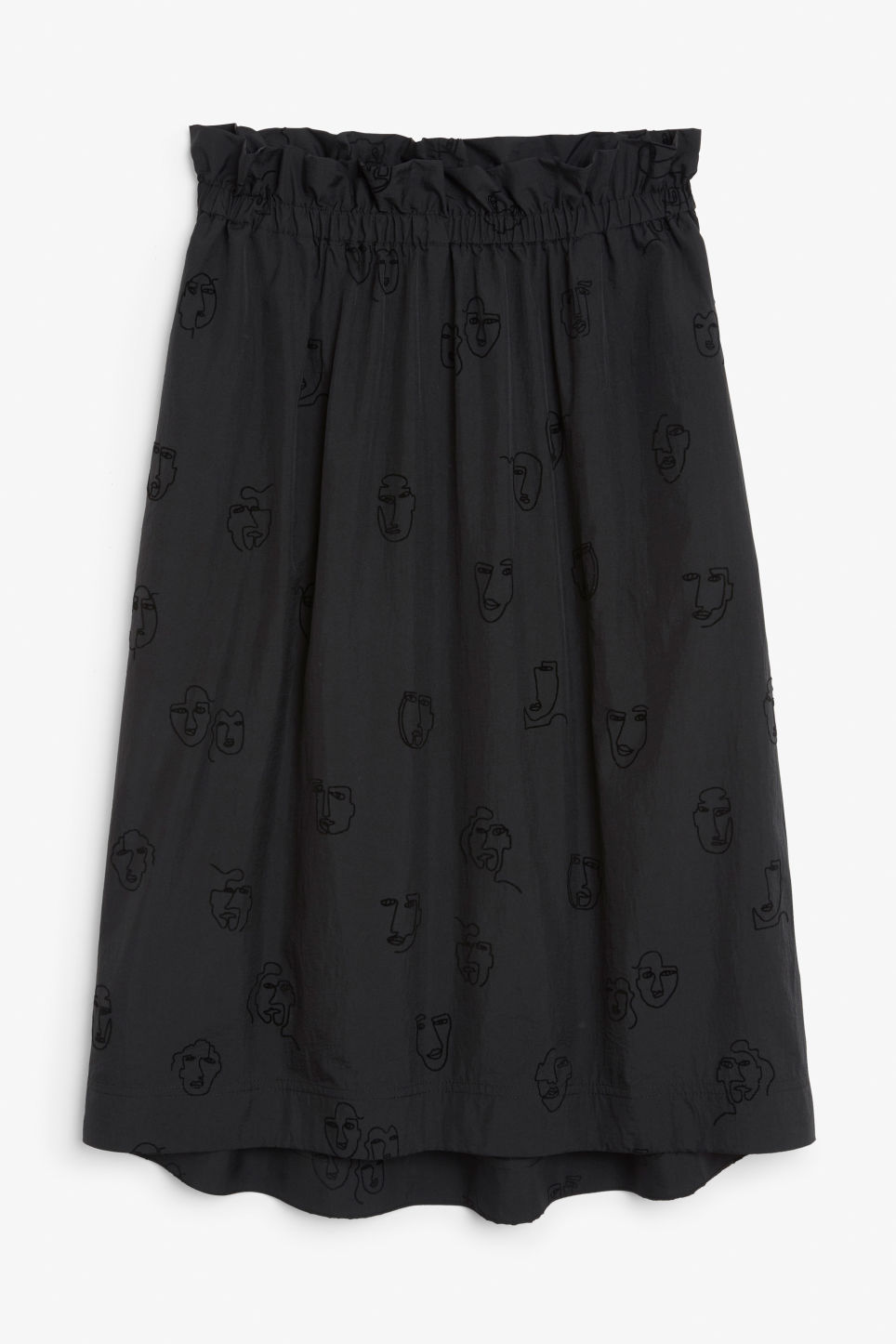 Front image of Monki flowy midi skirt in black