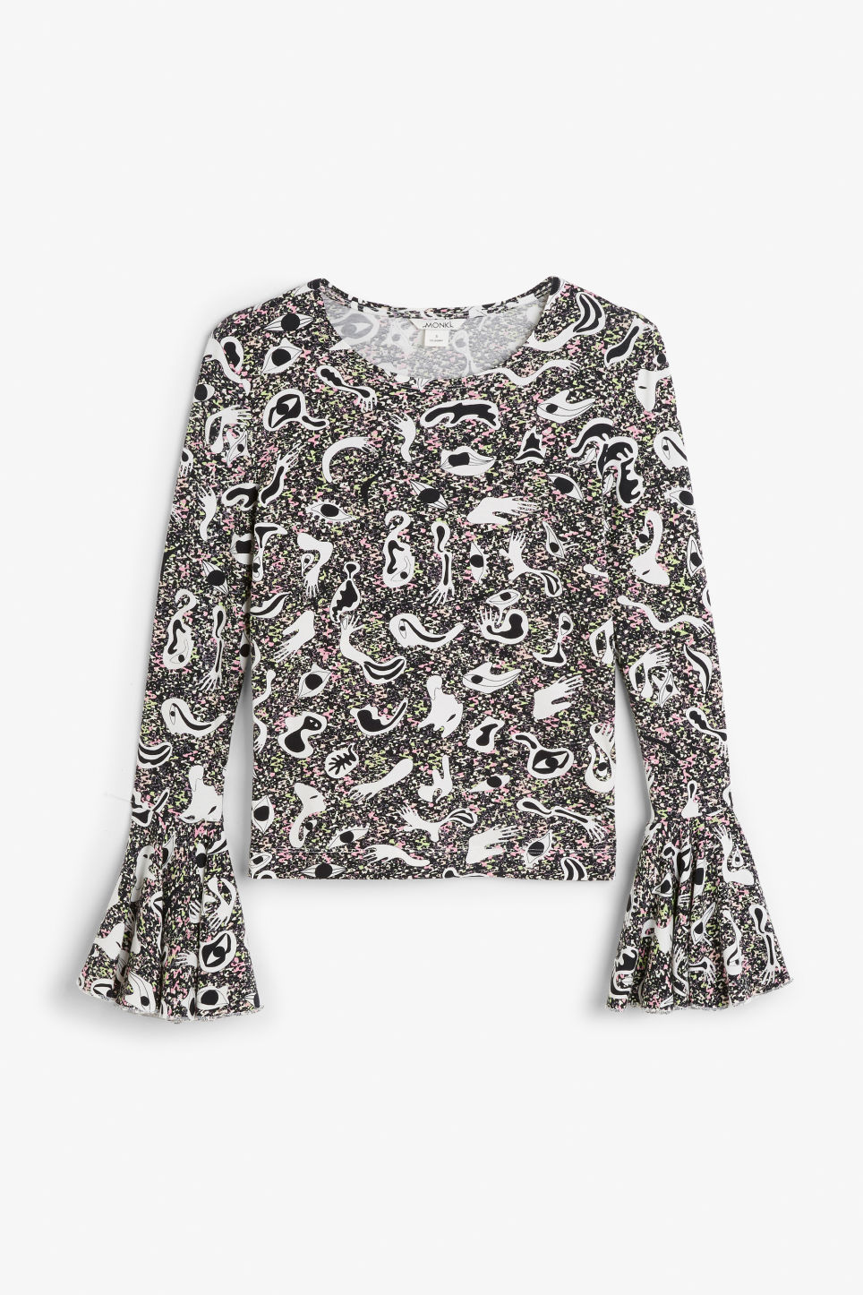 Front image of Monki trumpet-sleeve top in white
