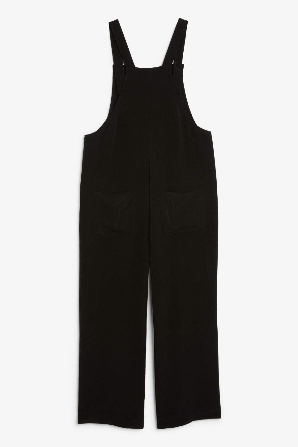 Back image of Monki wide leg dungarees in black