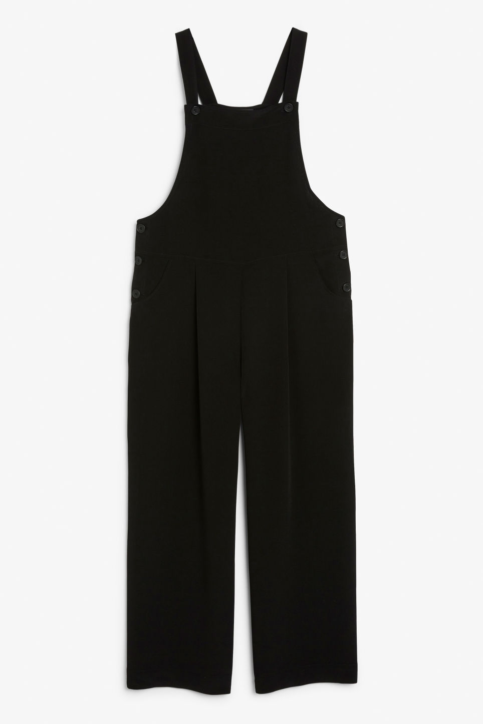 Front image of Monki wide leg dungarees in black