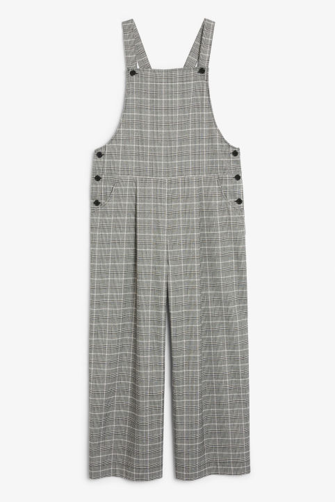 Front image of Monki wide leg dungarees in pink