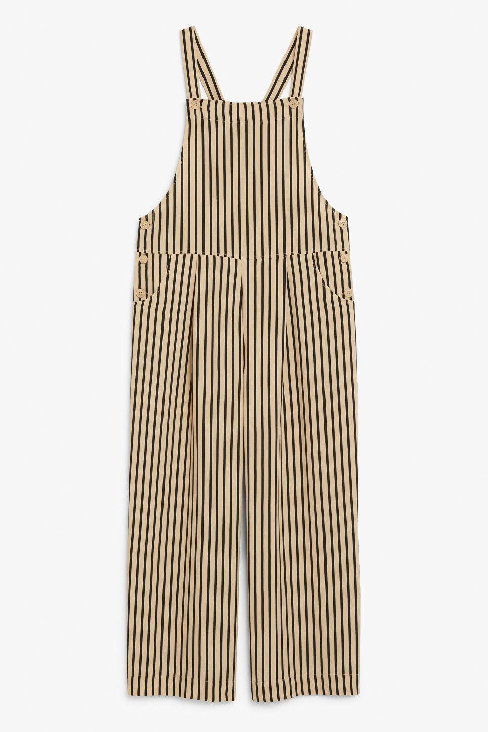 Front image of Monki wide leg dungarees in beige