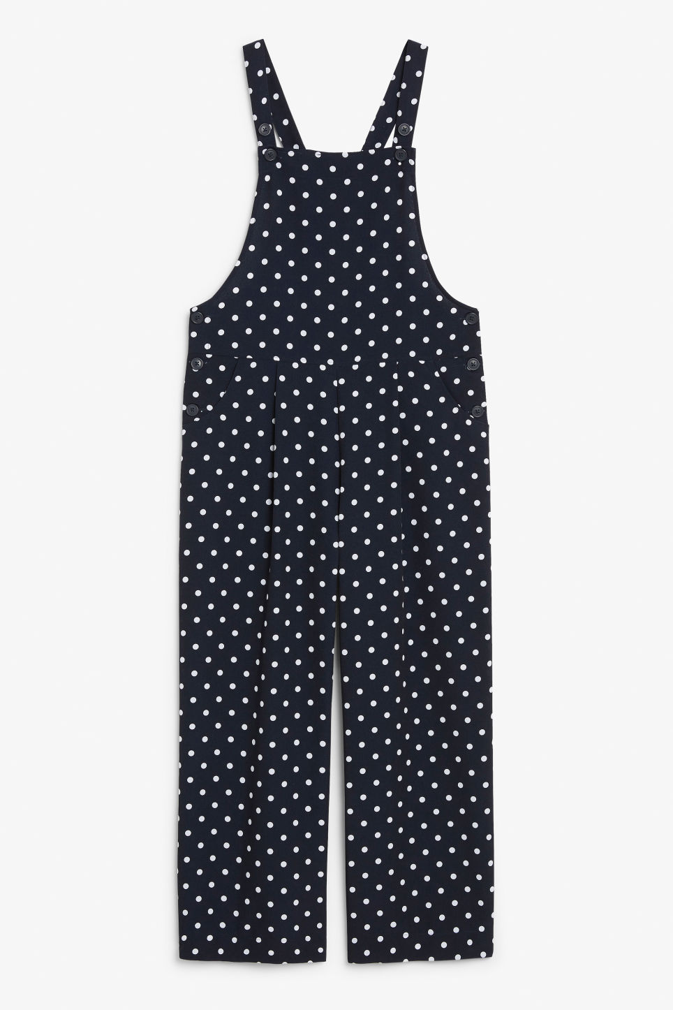 Front image of Monki wide leg dungarees in blue