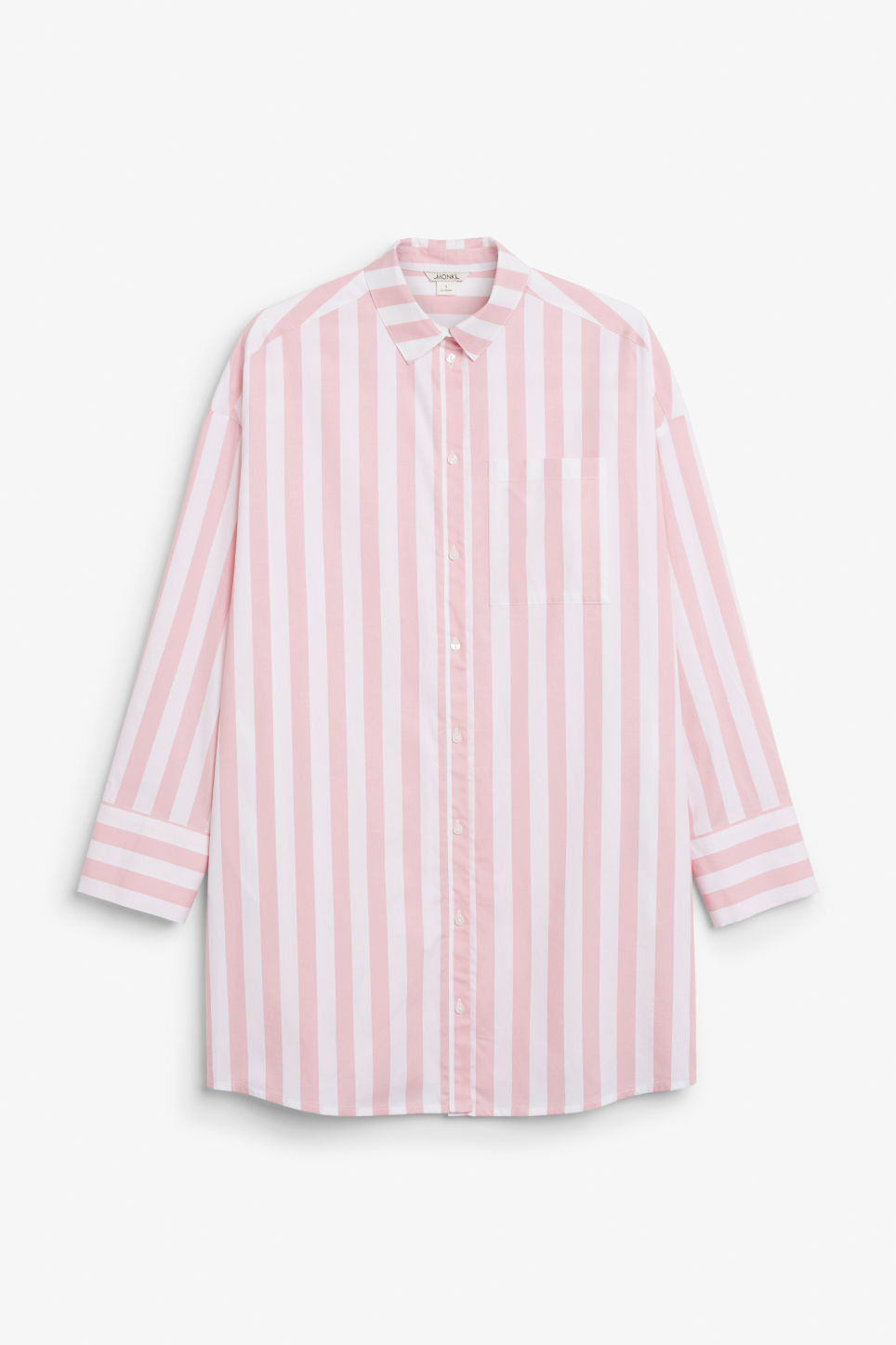 Front image of Monki oversized shirt dress in pink