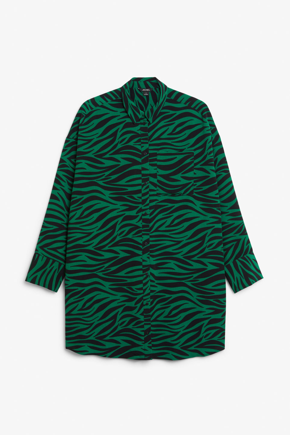 Front image of Monki oversized shirt dress in green