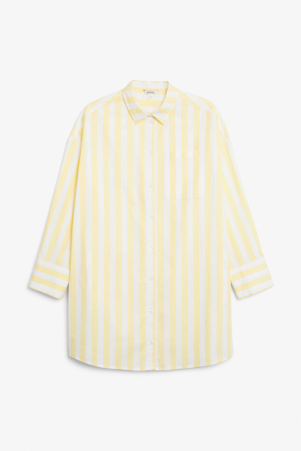 Front image of Monki oversized shirt dress in yellow