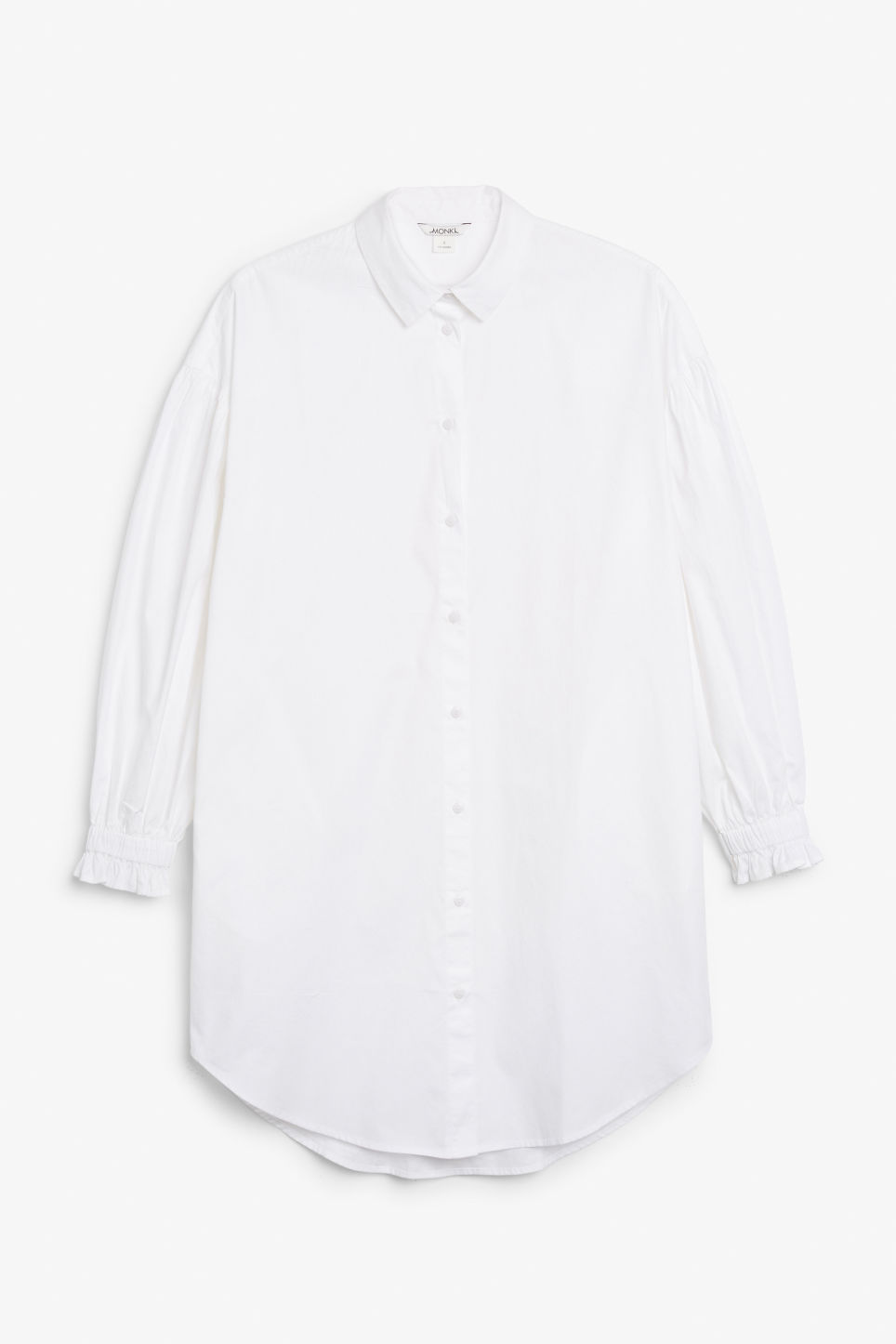 Front image of Monki oversized shirt dress in white