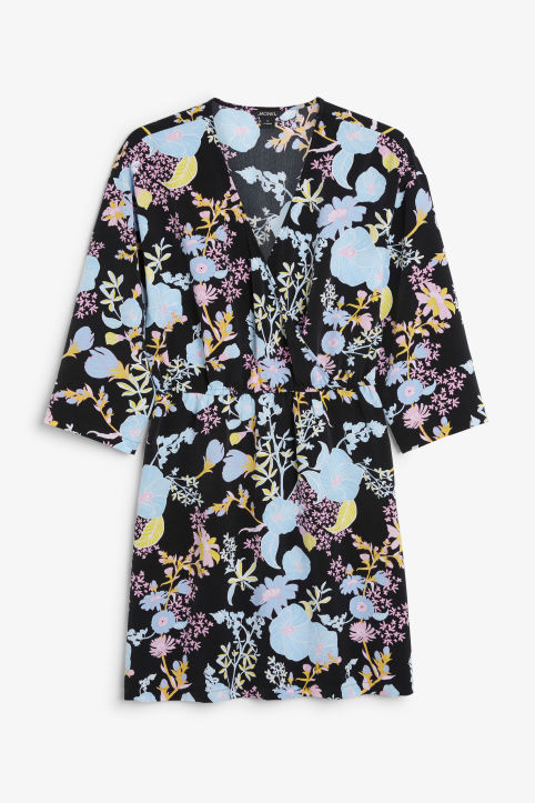 Front image of Monki printed wrap dress in black