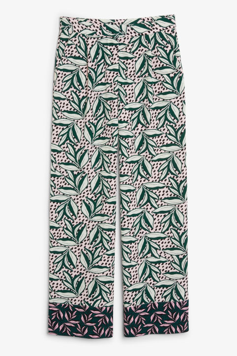 Front image of Monki wide leg trousers in pink