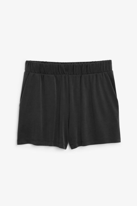 Front image of Monki super-soft sporty shorts in black