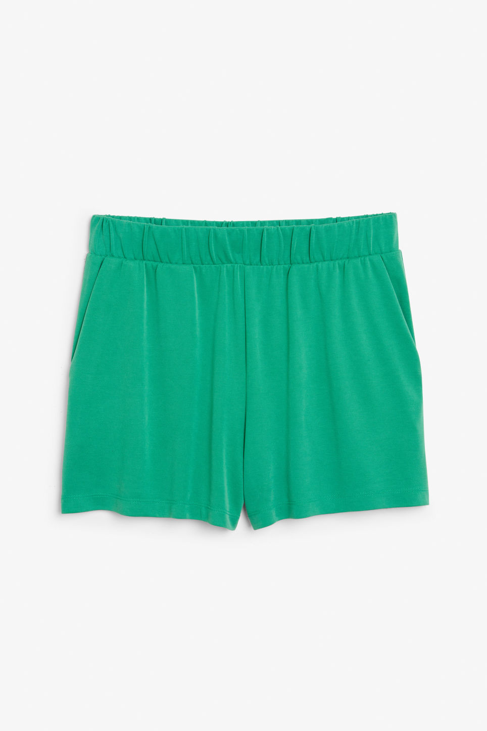 Front image of Monki super-soft sporty shorts in green