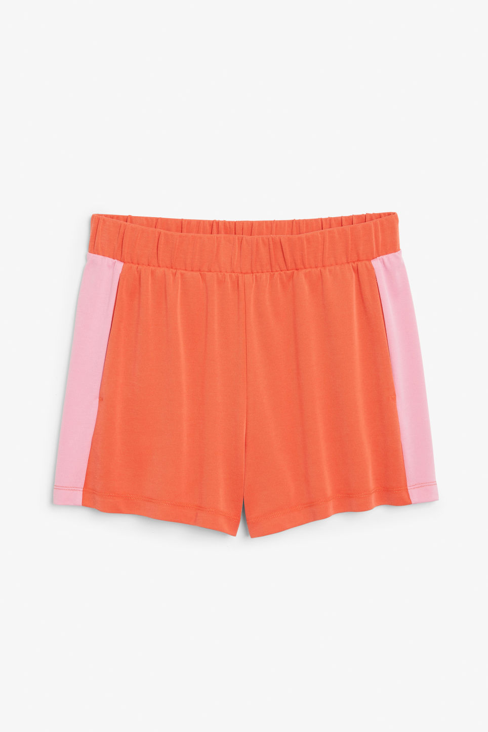 Front image of Monki super-soft sporty shorts in orange