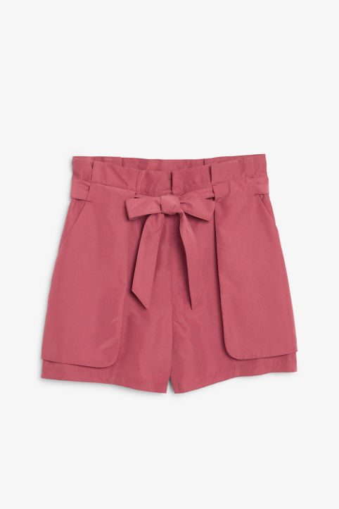 Front image of Monki flowy shorts in orange