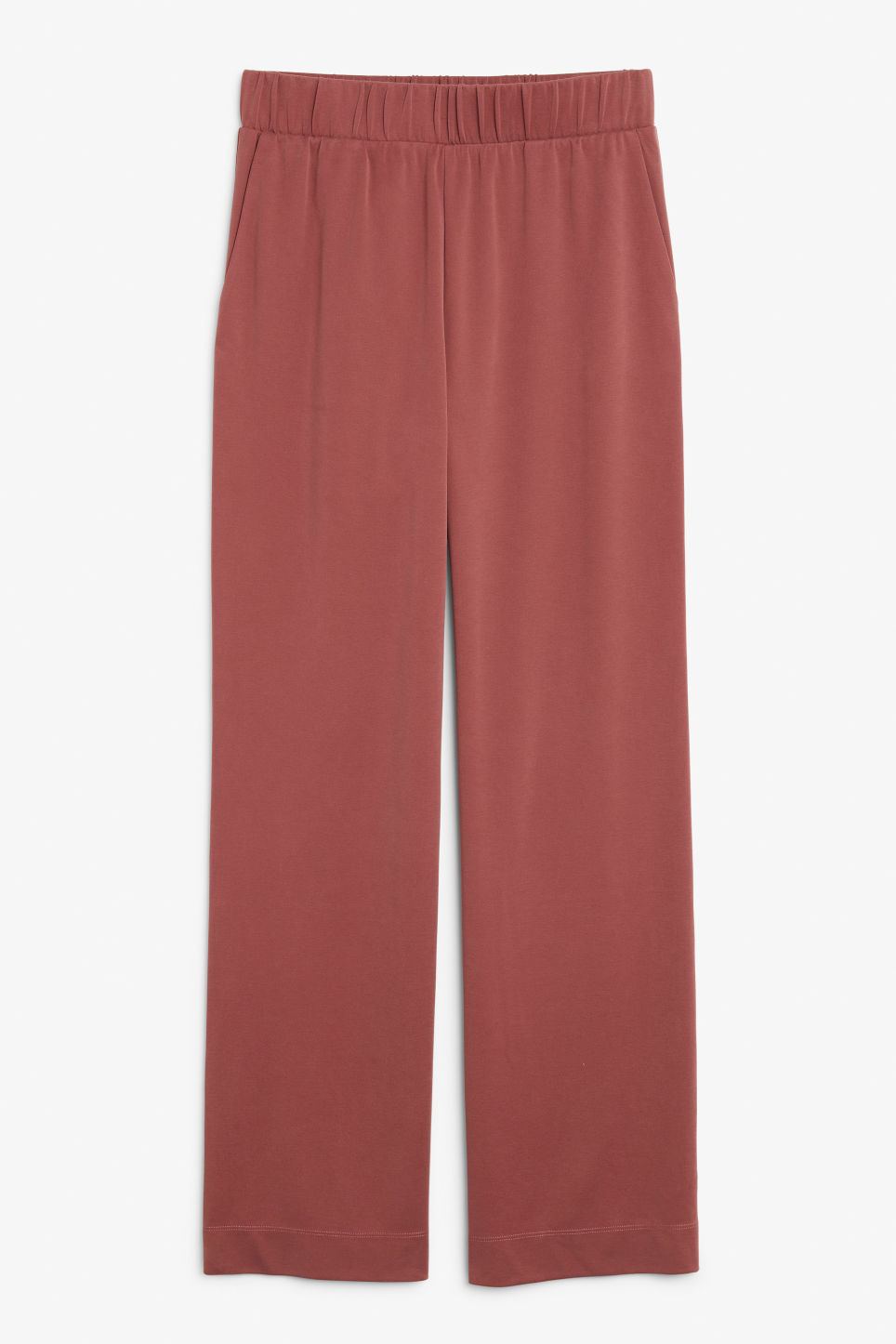 Front image of Monki super-soft flowy trousers in red