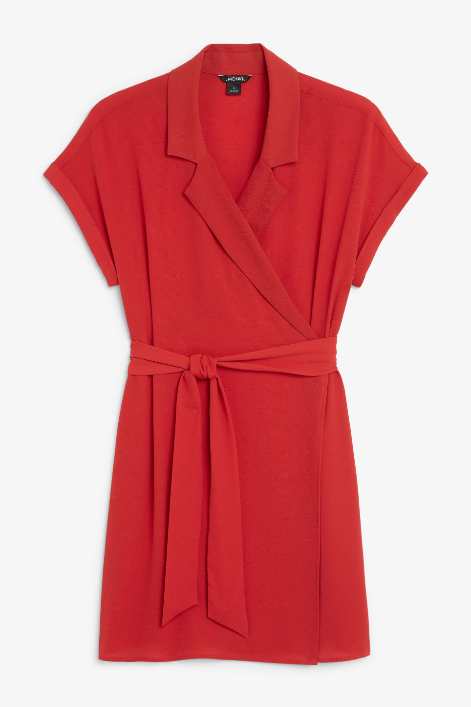 Front image of Monki flowy wrap dress in red