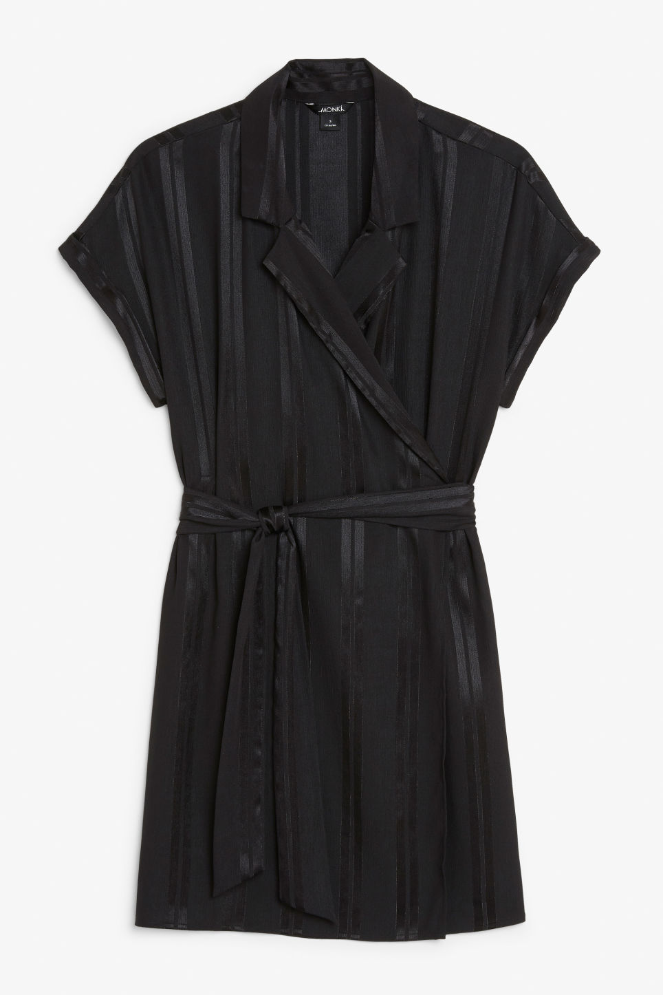 Front image of Monki flowy wrap dress in black