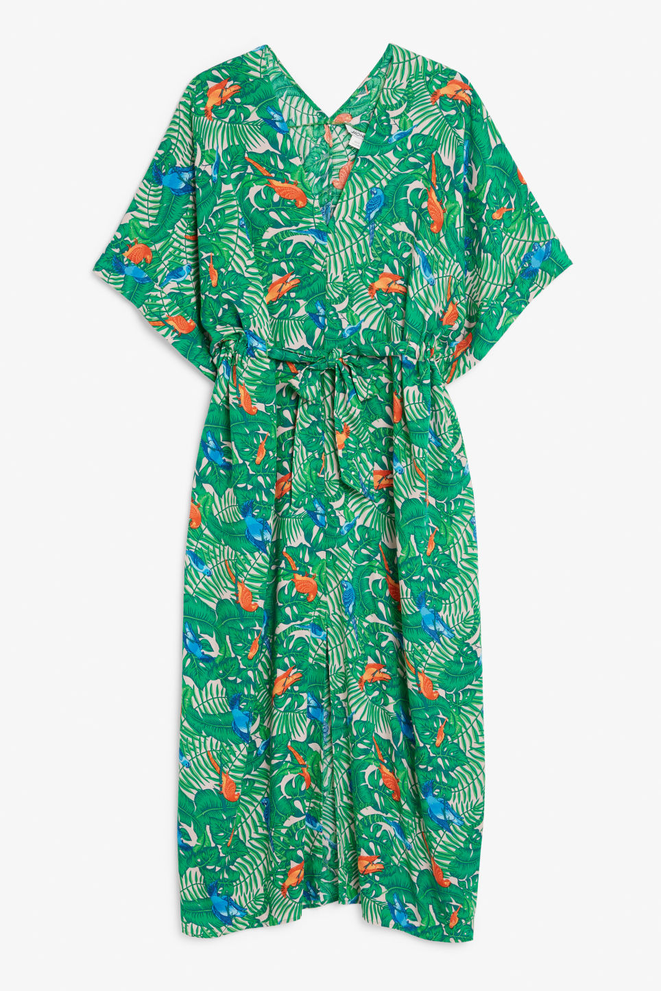 Front image of Monki v-necked kaftan dress in orange